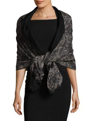 Valentino Silk Stole In Black/beige