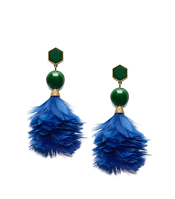 Tory Burch Feather Drop Earrings In Lapis/vintage Gold