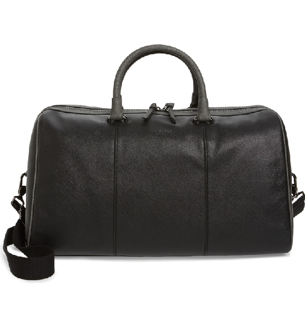 Ted Baker Claws Contrast Crossgrain Holdall In Black