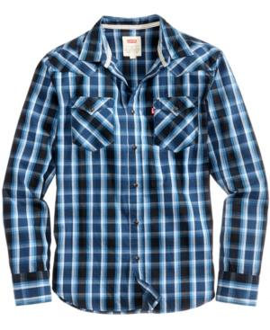 Levi's Men's Browards Peached Poplin Plaid Shirt In Caviar