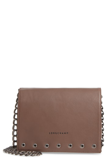 Longchamp Paris Rocks Small Leather Crossbody In Taupe