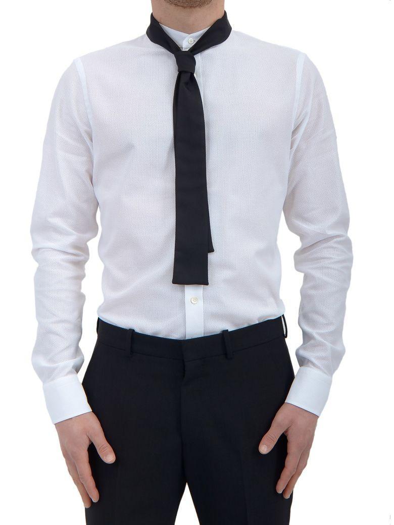 Alexander Mcqueen Tie-collar Cotton Shirt In Bianco