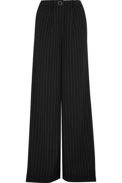 Mugler Pinstriped Wool-blend Wide-leg Pants