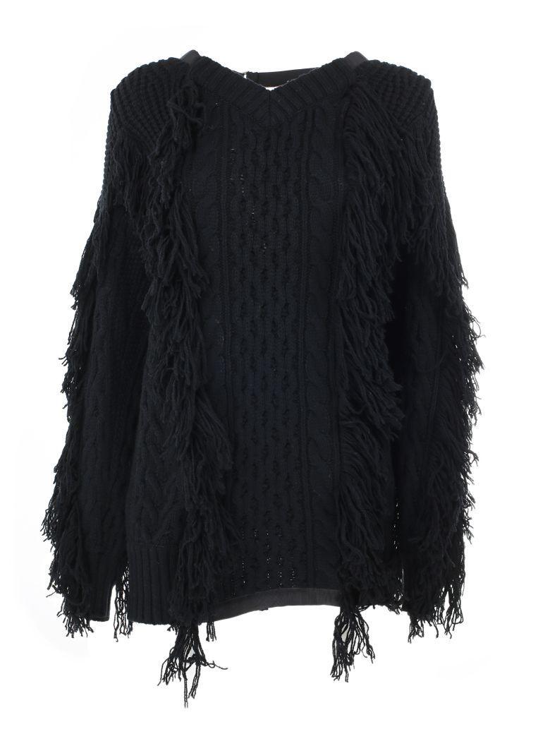 Sacai Knit Sweater In Black