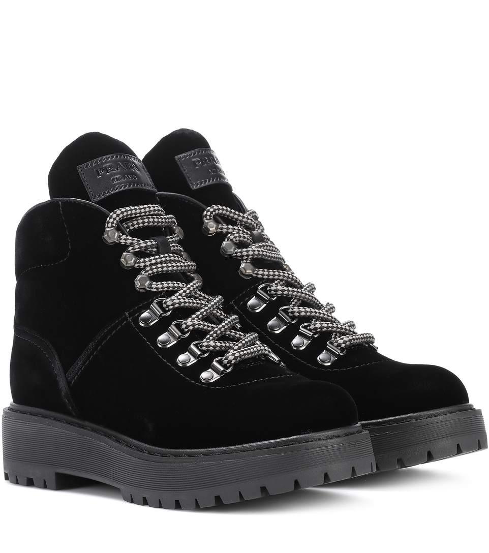 Prada Velvet Ankle Boots In Eero