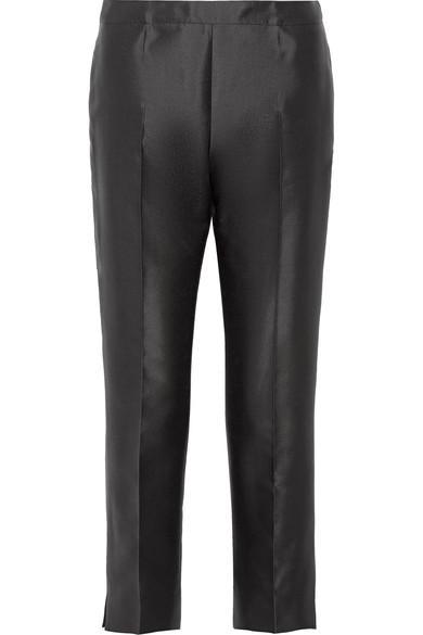 Prada Cropped Wool And Silk-blend Straight-leg Pants In Black