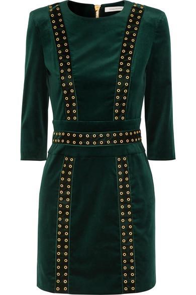 c7225260 Pierre Balmain Embellished Stretch Cotton-Blend Velvet Mini Dress In Green