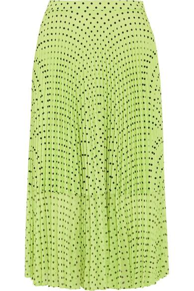 Markus Lupfer Hailey Pleated Polka-dot Georgette Midi Skirt