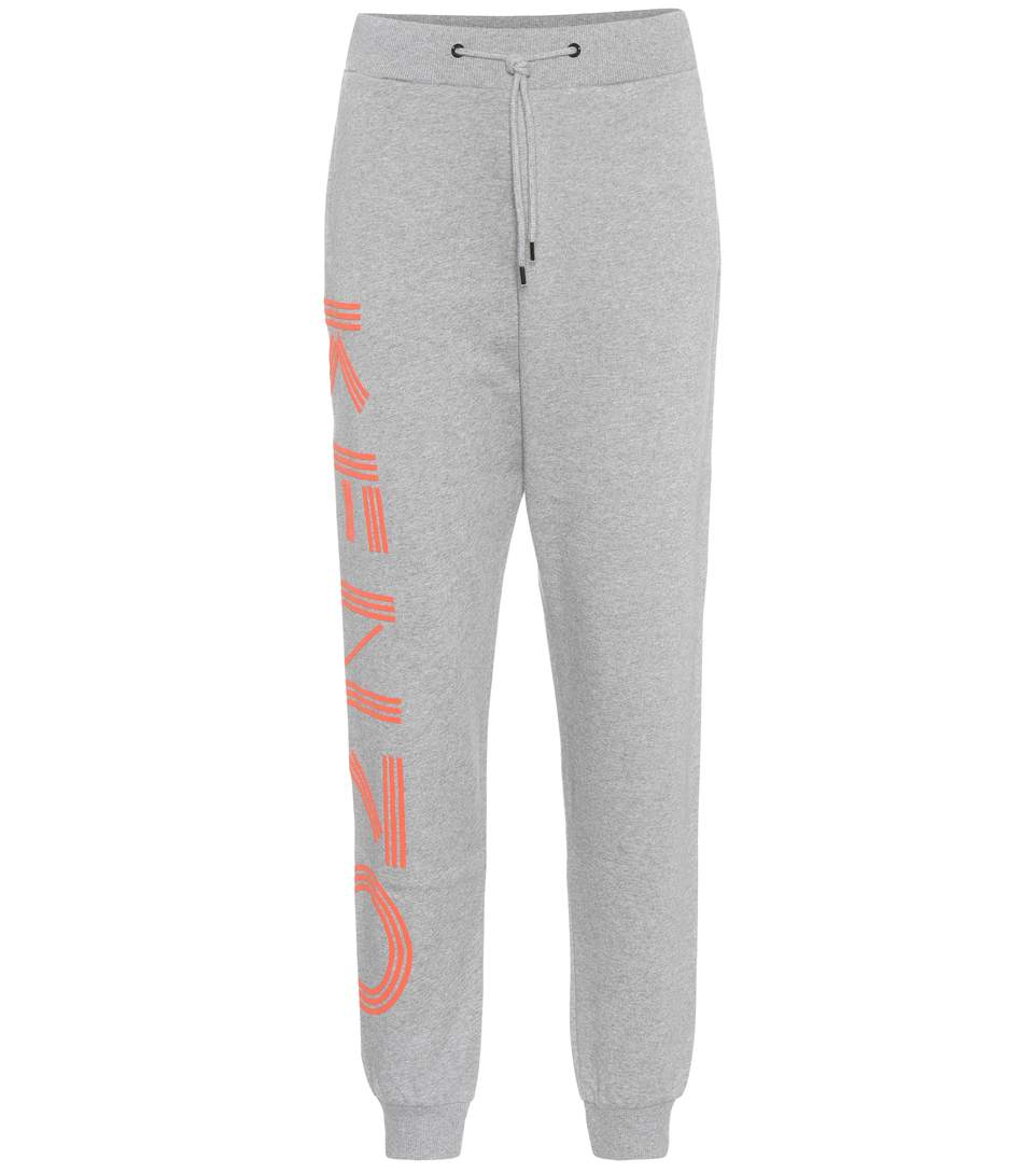 Kenzo Printed Cotton Trackpants In Grey