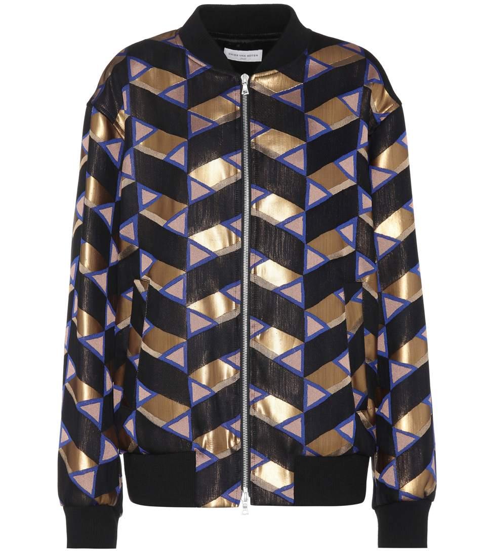 Dries Van Noten Printed Bomber Jacket In Gold