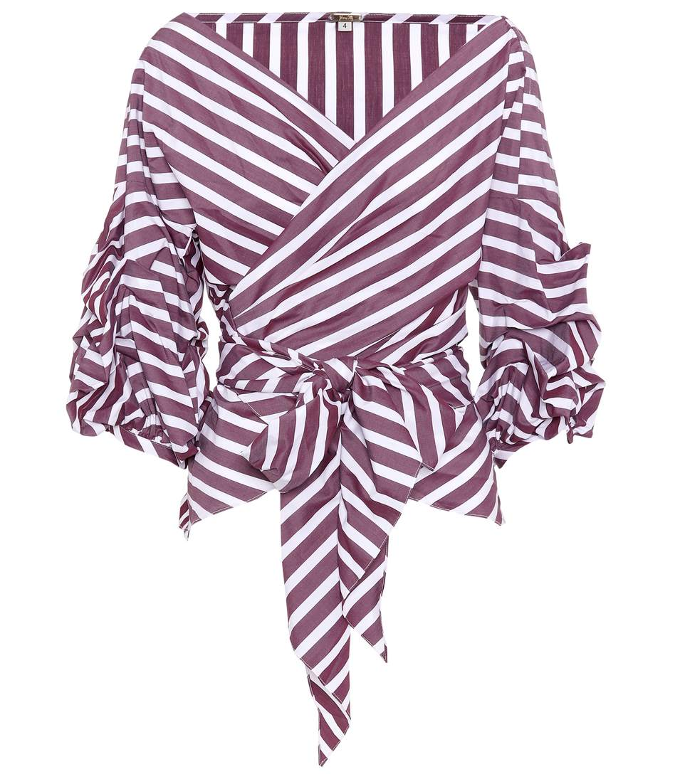 Johanna Ortiz Exclusive To Mytheresa.com - Rosemary Striped Cotton Blouse In Purple