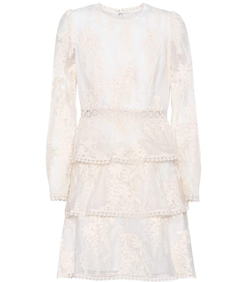 Zimmermann Maples Embroidered Silk Dress In Pearl