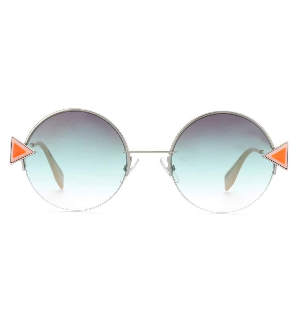 Fendi Stud-embellished Palladium-tone And Acetate Round Sunglasses In Blue