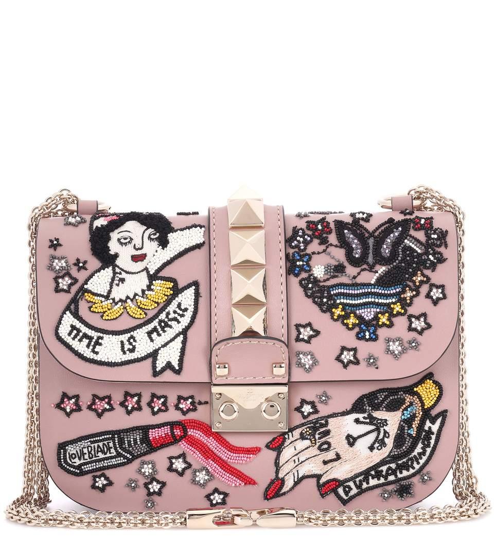 Valentino Garavani Lock Small Beige Beaded Leather Shoulder Bag In Pink