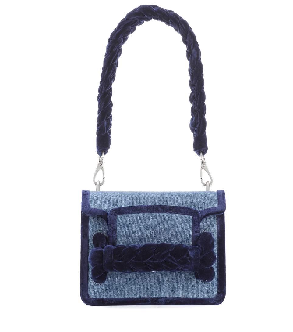 e3cde68843d1 Miu Miu Denim Pink Velvet Braided Box Bag In Blue