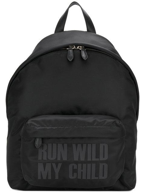 Givenchy Slogan Print Backpack In Black