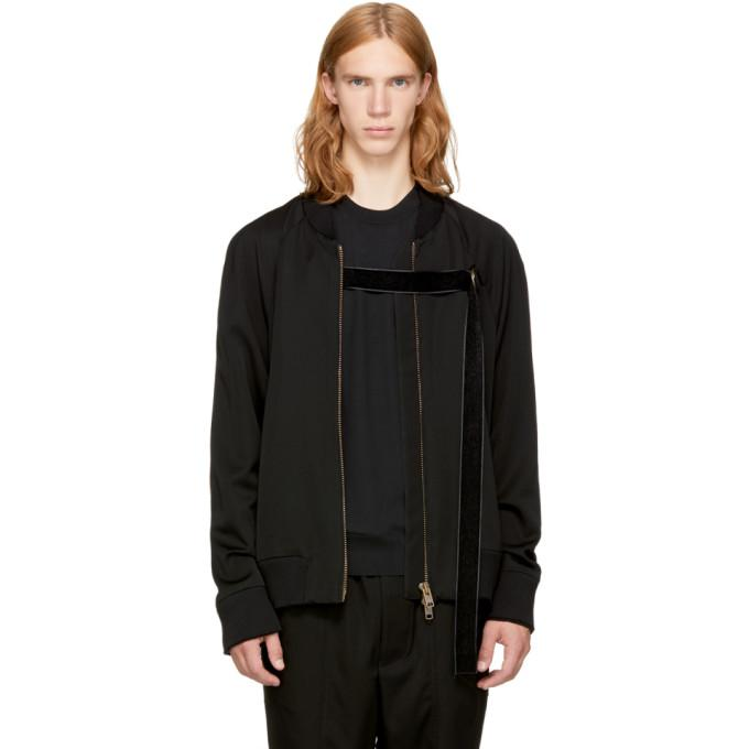 Song For The Mute Black 'mute' Strap Bomber Jacket