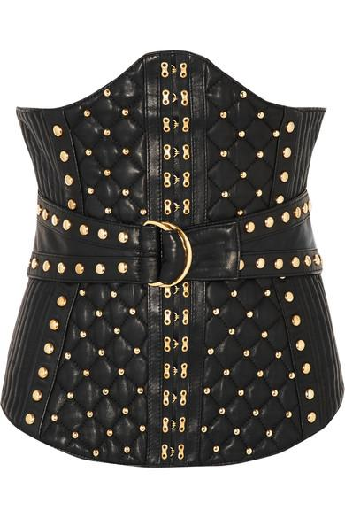 Balmain Studded Quited Leather Corset