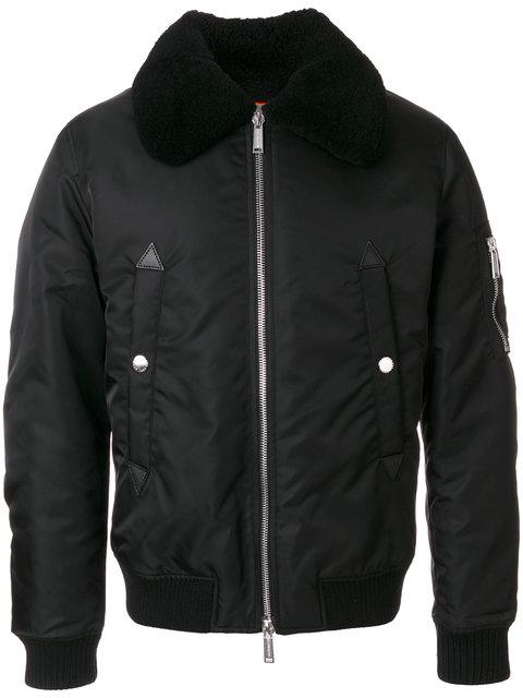 Dsquared2 Lambskin Shearling Collar Padded Bomber Jacket In Black