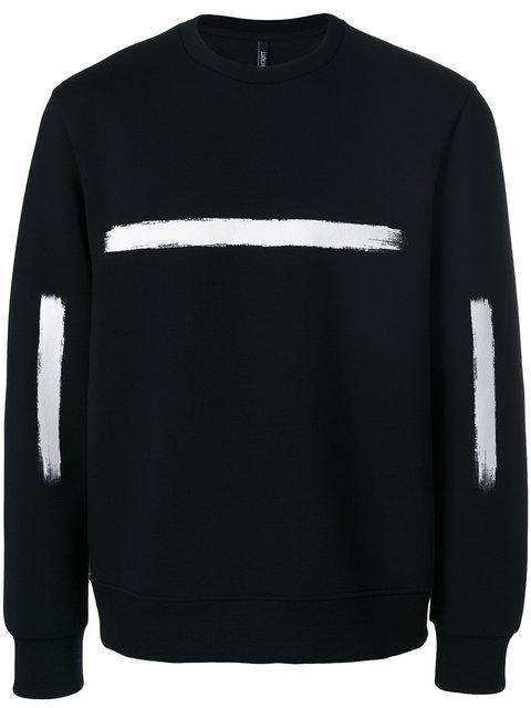 Neil Barrett Strokes Black Viscose Sweatshirt