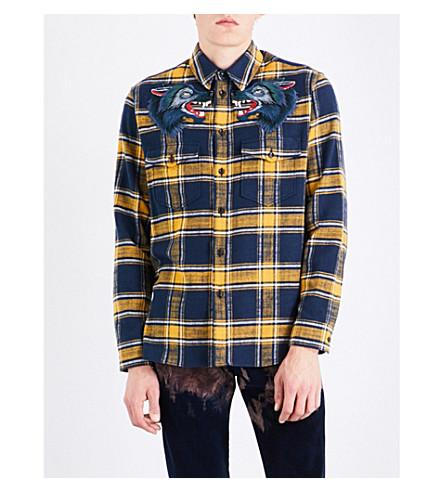 c0a6f99b Gucci Wolf-Embroidered Regular-Fit Cotton-Flannel Shirt In Yellow, Blue