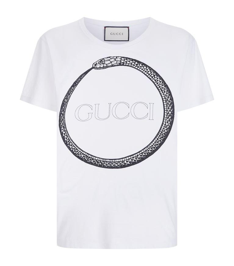 0d618ab253f Gucci Snake And Logo-Print Cotton T-Shirt In White