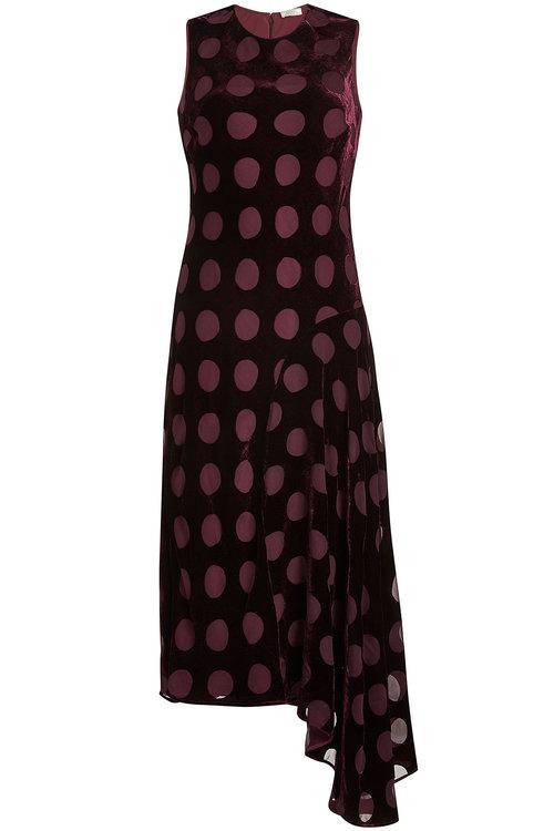 Nina Ricci Velvet Dress With Chiffon Spots In Red