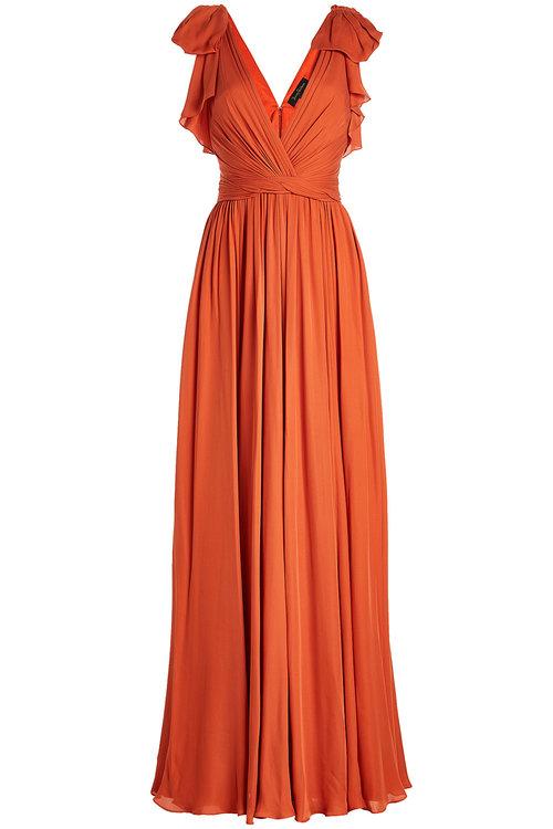 Jenny Packham Silk Floor-length Gown With Ruffles In Orange
