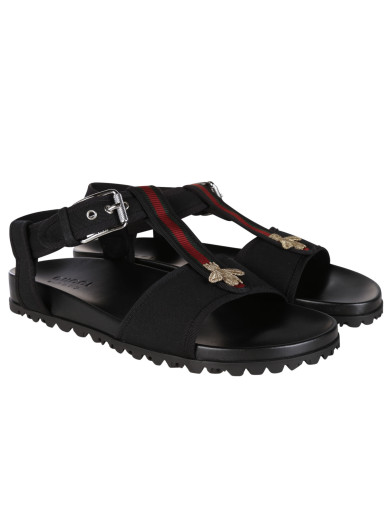 3fd7f49b2e3 Gucci Flat Sandals With Web And Bee Detail In Black