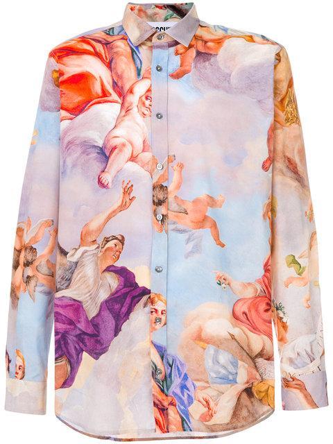 Moschino Renaissance Print Shirt In Lilac