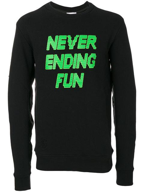 Tim Coppens Black 'never Ending Fun' Printed Ma-1 Crew Sweatshirt