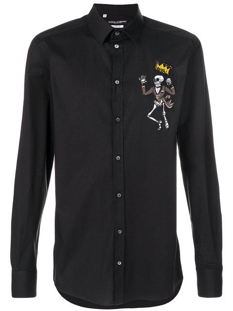 Dolce & Gabbana Dolce And Gabbana Black King Skeleton Shirt In N0000 Nero