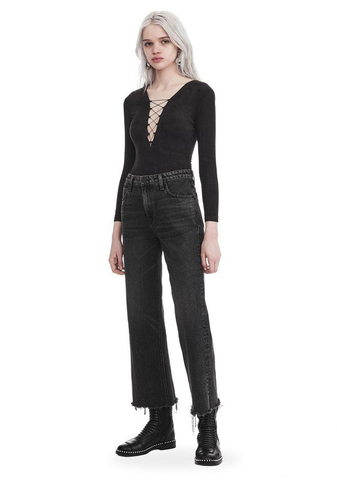 df68ebdb68 Alexander Wang Stretch Faux Suede Long Sleeve Lace-Up Bodysuit In Black