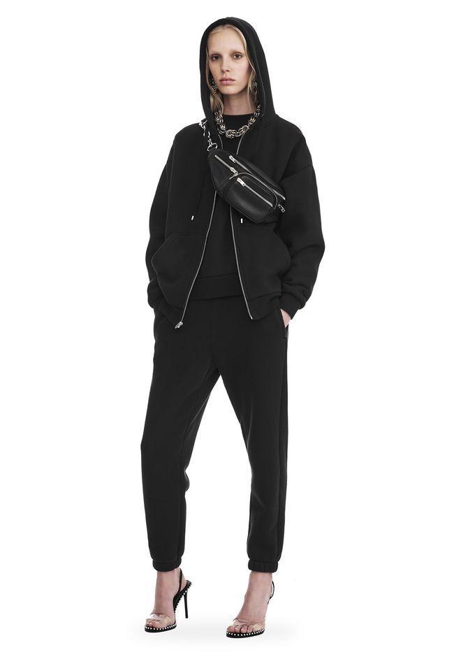Alexander Wang Dense Fleece Zip Thru Hoodie In Black