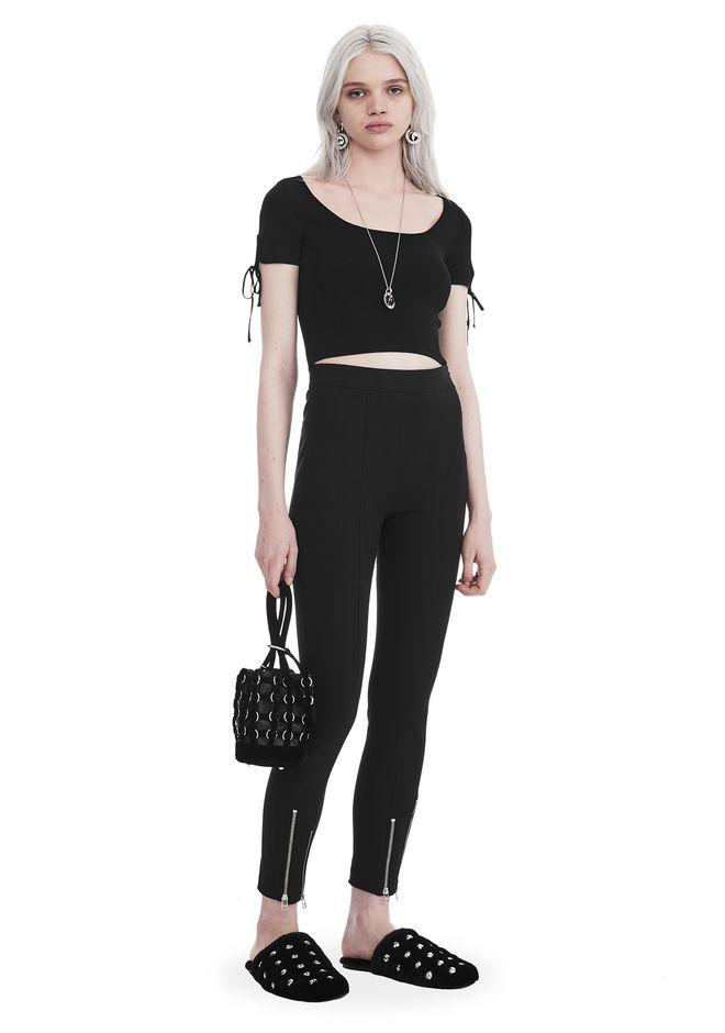 Alexander Wang Ribbed Short Sleeve Cropped Sweater With Tie Detail In Black