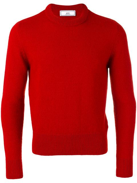 Ami Alexandre Mattiussi Crewneck Sweater - Farfetch In Red