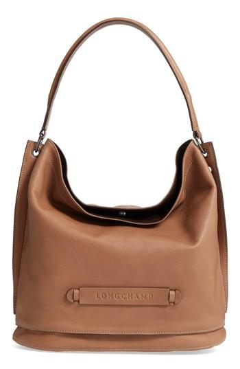 Longchamp '3d' Leather Hobo - Beige In Taupe