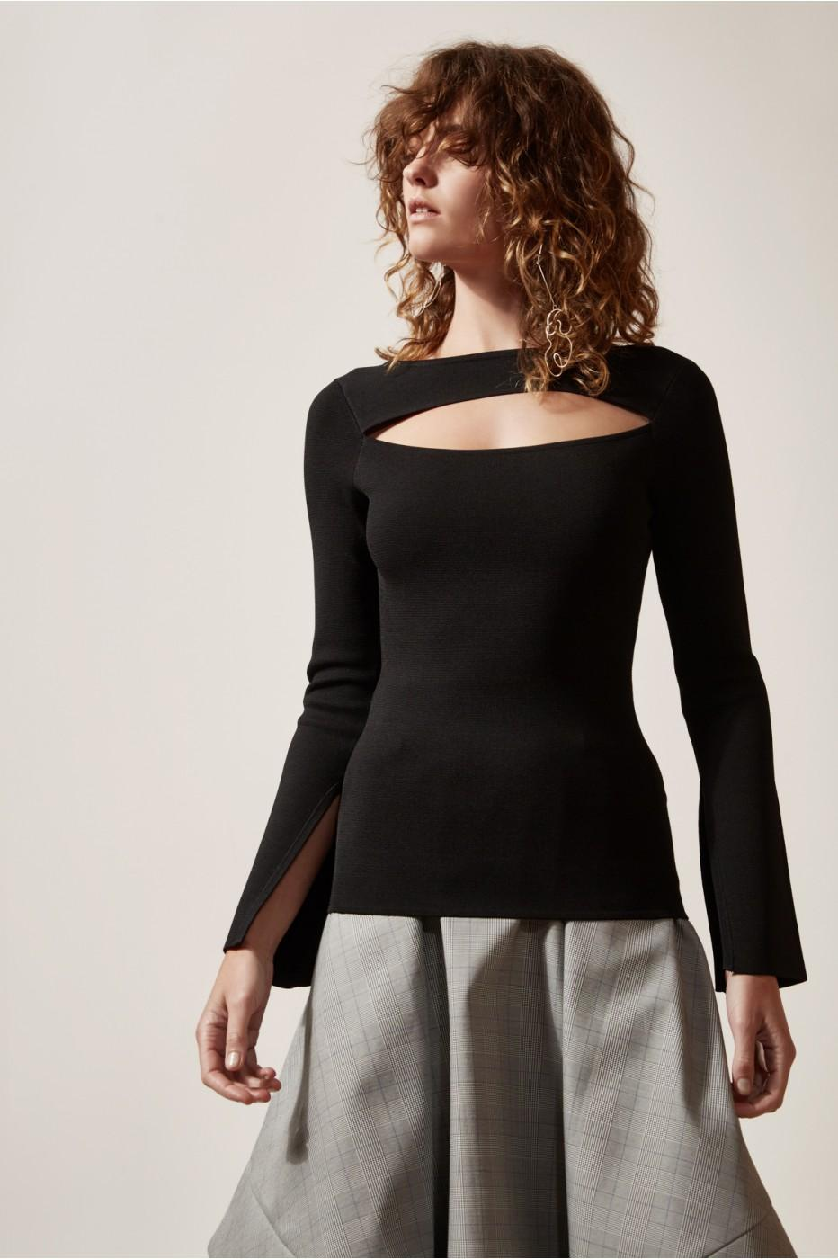 C/meo Collective Elision Knit Top In Black