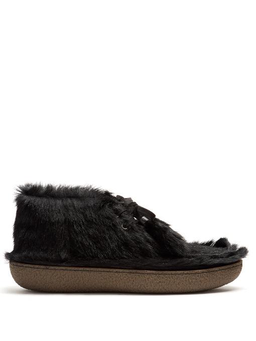 Prada Calf-hair Desert Boots In Black