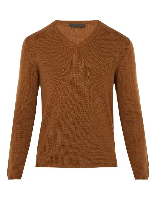 Prada V-neck Cashmere Sweater In Brown