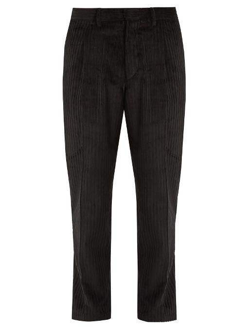 The Gigi Tonga Tapered-leg Cropped Cotton-corduroy Trousers In Black