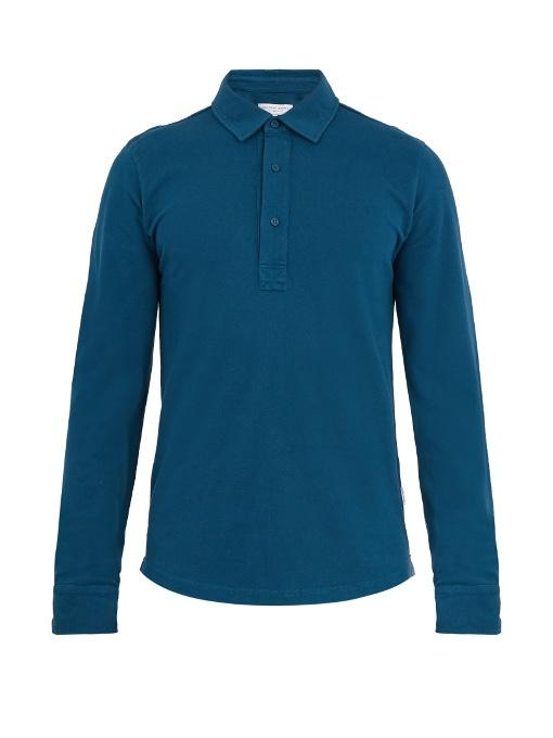 Orlebar Brown Sebastian Long-sleeved Cotton Polo Shirt In Blue