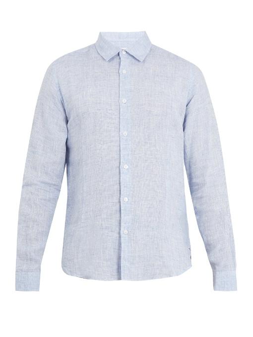 Orlebar Brown Morton Point-collar Linen Shirt In Light Navy