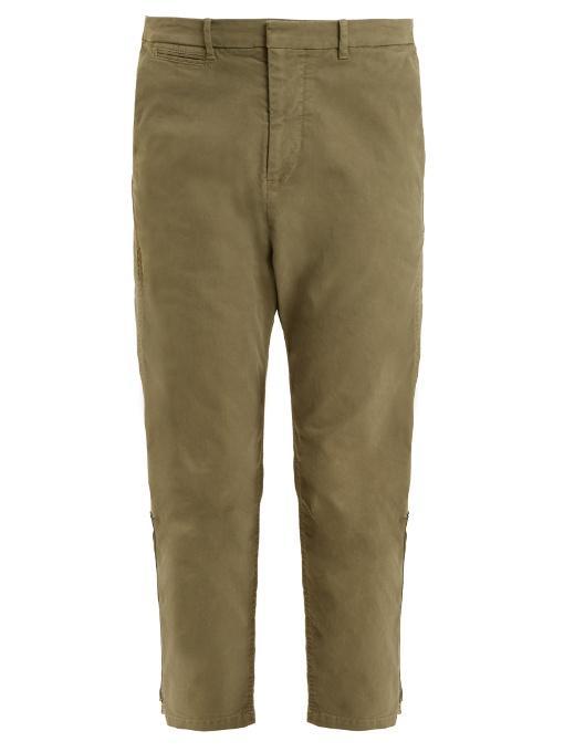 Nili Lotan Jackson Tapered-leg Cotton-blend Cropped Trousers In Khaki