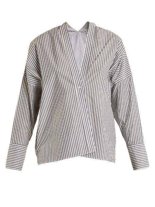 Nili Lotan Sabine V-neck Striped Shirt In Blue White
