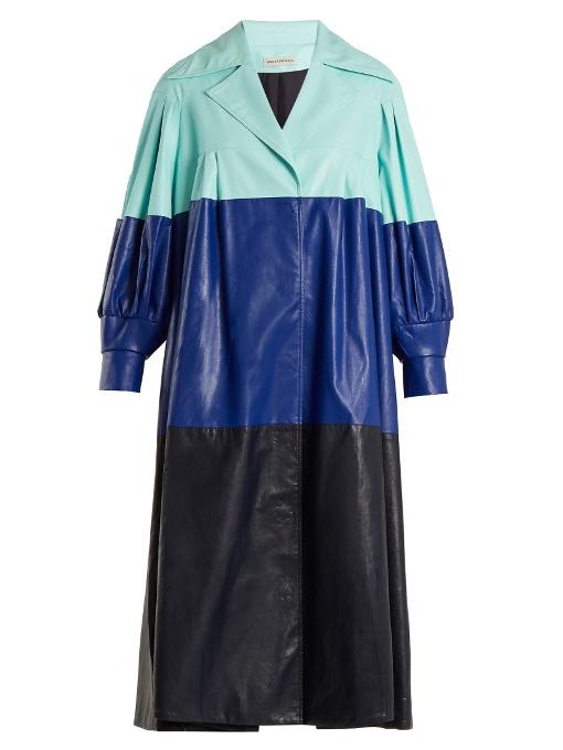 Vika Gazinskaya - Pleated Colour Block Faux Leather Coat - Womens - Blue Multi