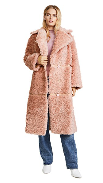 Vika Gazinskaya Notch-lapel Faux-leather Trimmed Alpaca-blend Coat In Pink