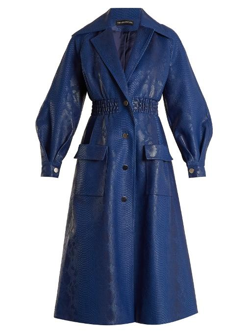 Vika Gazinskaya Crocodile-effect Faux-leather Coat In Dark Blue