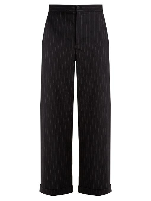 Jw Anderson - Wide Leg Striped Wool Blend Trousers - Womens - Navy