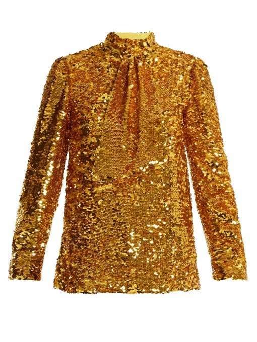 Msgm Tie-neck Sequin-embellished Top In Gold